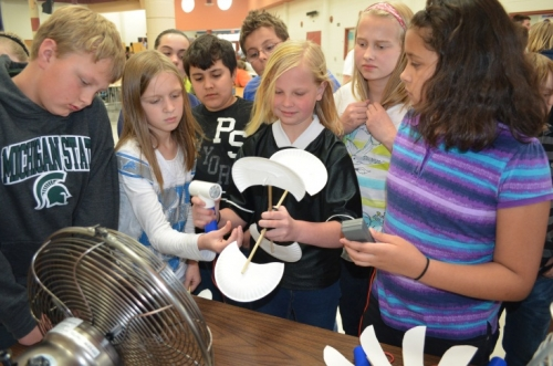 Students test their wind turbine designs.