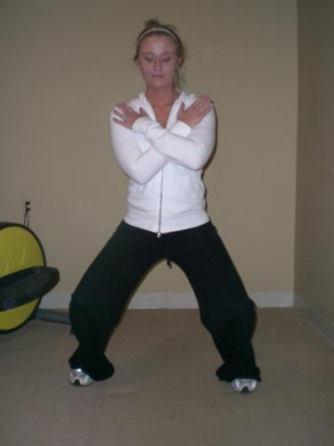Horseback riding, leg strength squat exercise