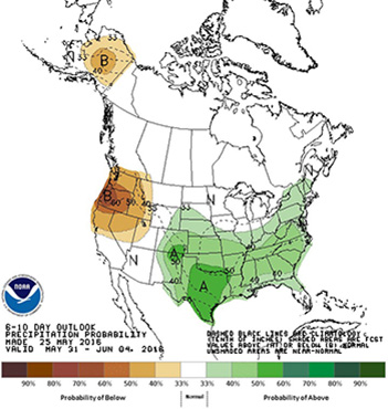 NOAA's 6-10 day outlook precipitation probability map.