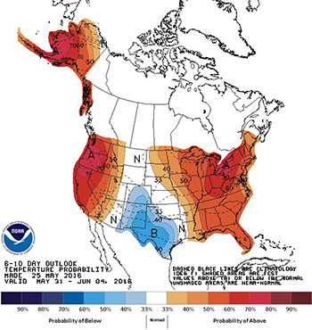 NOAA's 6-10 day outlook temperature and precipitation probability maps.