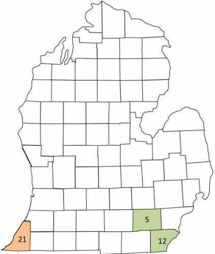 Corn earworm trap map