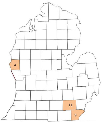 Corn earworm trapping map
