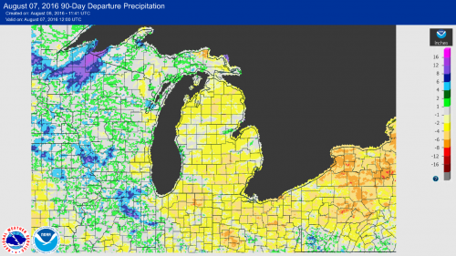 Precipitation map of Michigan.