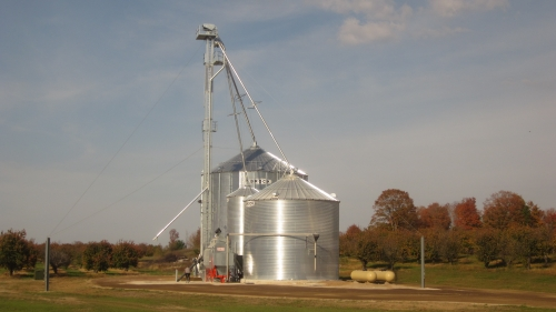 New grain drying equipment on Byers Road, Atwood, Mich.