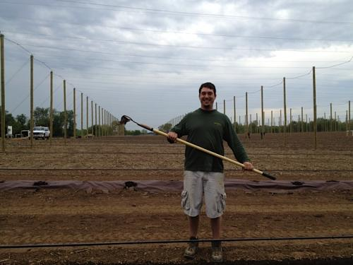Marty Moga of Calhoun County's new High Five Hops Farm is pictured at Hop Head Farms' 2012 spring planting event.