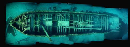 The image of the wreck E.B. Allen is pieced together through a process called photomosaic