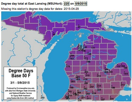 Accumulated degree days on a map of Michigan