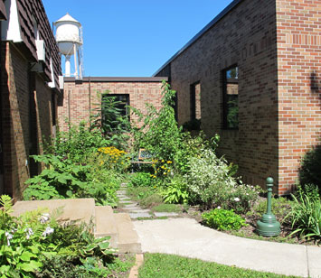 Photo caption: Rain garden beautifies an urban space while collecting and infiltrating roof water. Photo credit: Jane Herbert