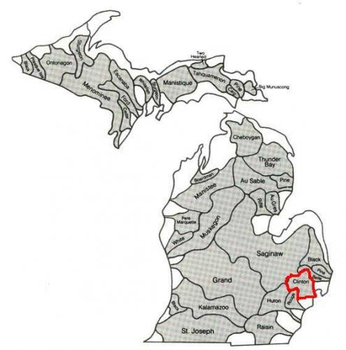 This diagram shows the major watersheds in Michigan. The Clinton River watershed is outlined in red.