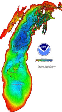 Lake Michigan bathymetric chart image.