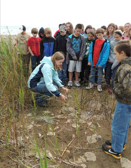 Thunder Bay Jr High students in the field.