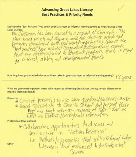 Teacher best practices form from the 2013 Great Lakes Conference image.