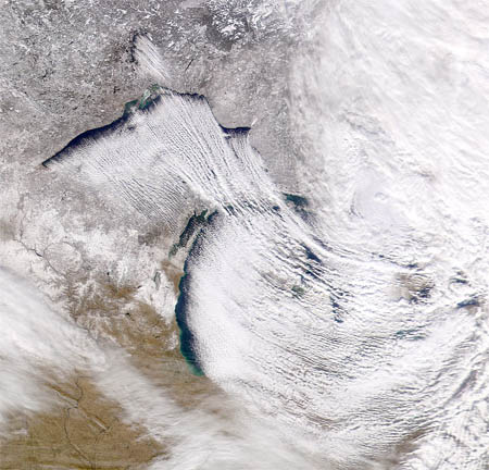 Lake effect snow over Michigan.