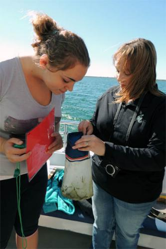 Students examining water sample for marine debris image.