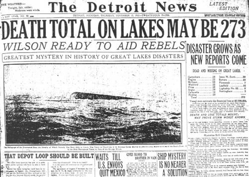Detroit News Headlines of 1913 Great Storm of the Great Lakes image.
