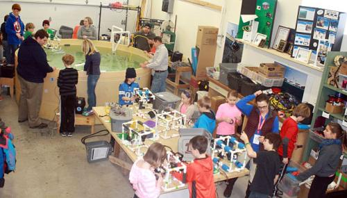 The Makers Space!  Alpena Elementary School youth engineer remote operated underwater robots (ROVs), among other engineering projects, to aid in their study of the Thunder Bay watershed.
