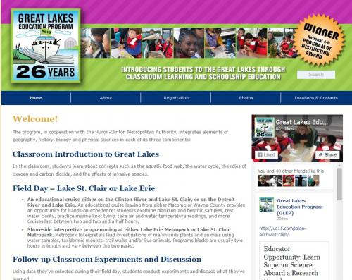 Screen shot of Great Lakes Education Program website.