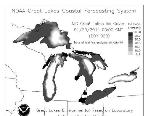 Map of ice coverage on Great Lakes January 2014