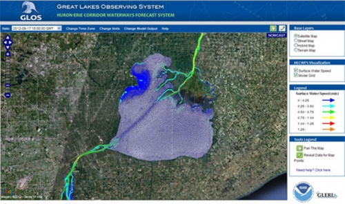 Huron Erie Cooridor waterways forecast system image.