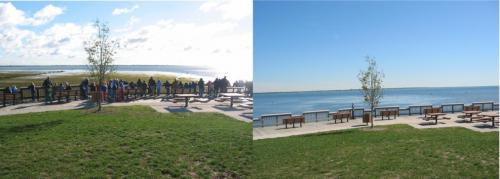 Low water levels on Lake Erie (left) compared to high water levels (right). | Michigan Sea Grant