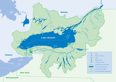 Great Lakes Ontario Map Lake Ontario Basin Map