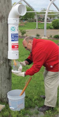 Monofilament recycling bin station image.