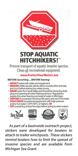 Stop Aquatic Hitchhikers winchpost sticker