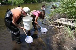 Students taking water samples in the river.