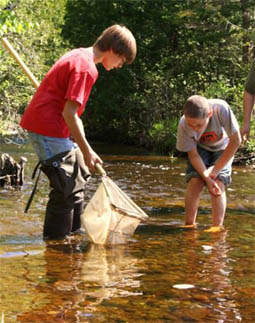 Rogers City Elementary students taking samples in Trout River.