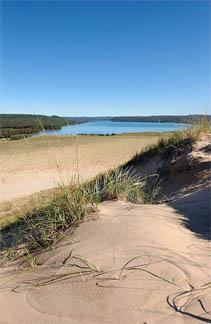 Sleeping Bear Sand Dunes on Lake Michigan.