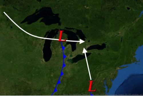 Converging storm fronts map of 1913 Great Storm in the Great Lakes image.