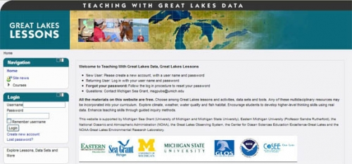 Screen shot from Teaching with Great Lakes Data website.