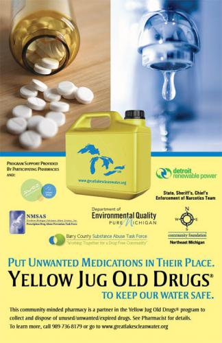 Yellow Jug drug take back program poster image.