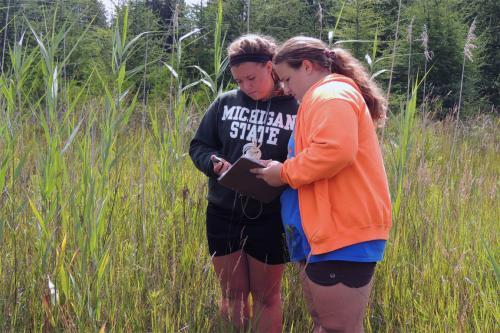 Two girls monitoring aquatic plants image.