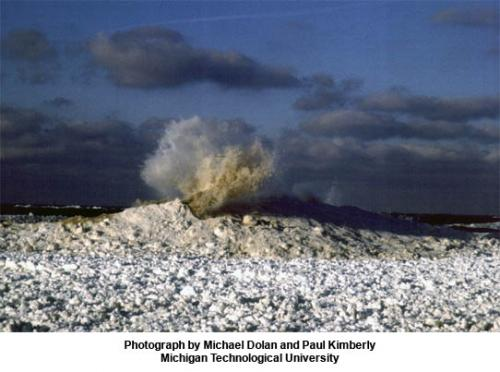 Ice volcano on Great Lakes image.