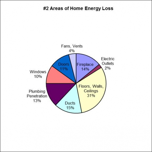 Pie graph illustrating where the most energy is lost in a home.