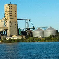 Silos overlook a fresh water source