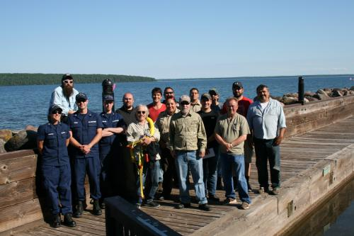 Drill Conductor Training course attendees with instructors at Red Cliff Band of Lake Superior Chippewa location.