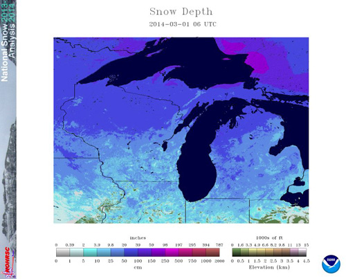 Estimated snow cover