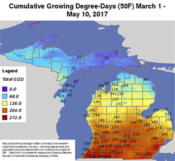 Heat accumulation base 50 F in Michigan in terms of number of GDDs