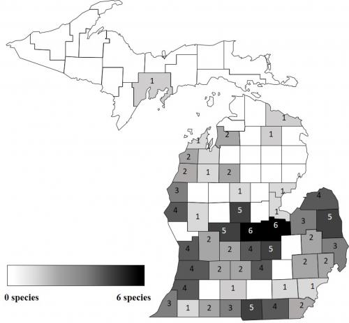 Map of Number of herbicide-resistant weed species in Michigan by county