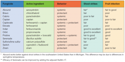Fungicide efficacy table