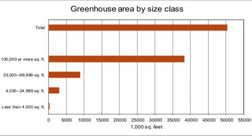 Graph of greenhouse area by size class