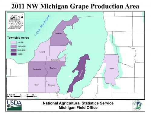 Northwest Michigan grape areas