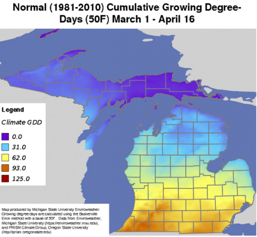 Enviroweather map showing normal cumulative growing degree-days.