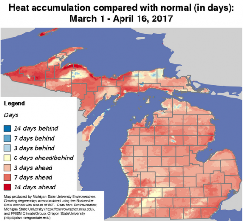 Enviroweather map showing heat accumulation compared with normal.