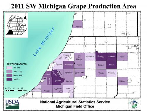 Southwest Michigan grape areas