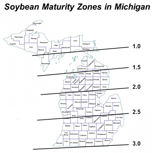soybean maturity zones in Michigan