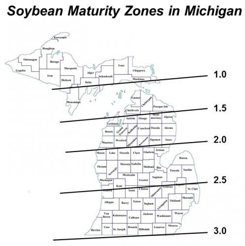 soybean maturity zones in Michigan