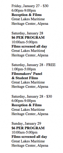 a list of scheduled times for film showings